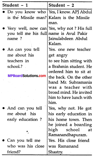 The Missile Man Of India Question Answer MP Board Class 8