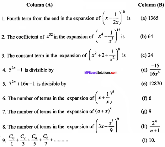 MP Board Class 11th Maths Important Questions Chapter 8 Binomial Theorem 1