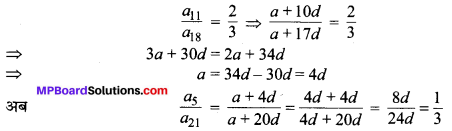 MP Board Class 10th Maths Solutions Chapter 5 समान्तर श्रेढ़ियाँ Additional Questions 1