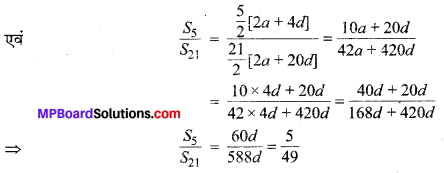 MP Board Class 10th Maths Solutions Chapter 5 समान्तर श्रेढ़ियाँ Additional Questions 2