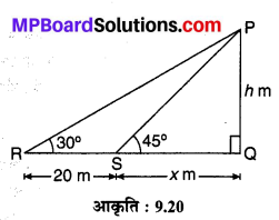 MP Board Class 10th Maths Solutions Chapter 9 त्रिकोणमिति के कुछ अनुप्रयोग Additional Questions 1