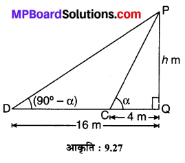 MP Board Class 10th Maths Solutions Chapter 9 त्रिकोणमिति के कुछ अनुप्रयोग Additional Questions 11