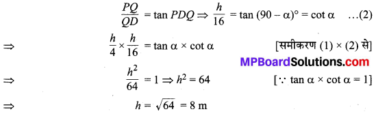 MP Board Class 10th Maths Solutions Chapter 9 त्रिकोणमिति के कुछ अनुप्रयोग Additional Questions 12