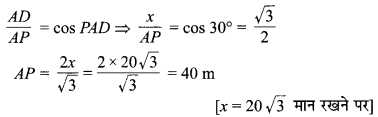 MP Board Class 10th Maths Solutions Chapter 9 त्रिकोणमिति के कुछ अनुप्रयोग Additional Questions 19