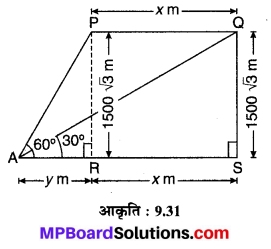 MP Board Class 10th Maths Solutions Chapter 9 त्रिकोणमिति के कुछ अनुप्रयोग Additional Questions 20