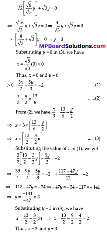 MP Board Class 10th Maths Solutions Chapter 3 Pair of Linear Equations in Two Variables Ex 3.3 6