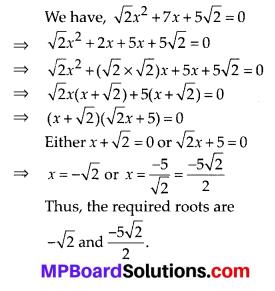 MP Board Class 10th Maths Solutions Chapter 4 Quadratic Equations Ex 4.2 1