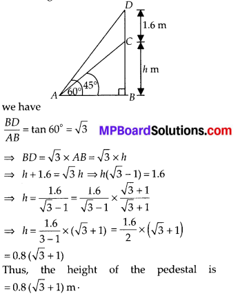 MP Board Class 10th Maths Solutions Chapter 9 Some Applications of Trigonometry Ex 9.1 10