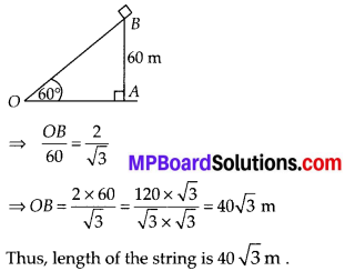 MP Board Class 10th Maths Solutions Chapter 9 Some Applications of Trigonometry Ex 9.1 7