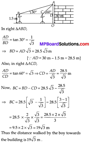 MP Board Class 10th Maths Solutions Chapter 9 Some Applications of Trigonometry Ex 9.1 8