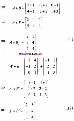 MP Board Class 12th Maths Important Questions Chapter 3 आव्यूह img 30a