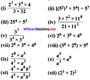MP Board Class 7th Maths Solutions Chapter 13 घातांक और घात Ex 13.2 image 1