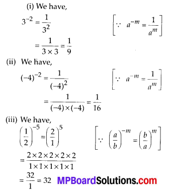 MP Board Class 8th Maths Solutions Chapter 12 Exponents and Powers Ex 12.1 1