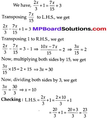 MP Board Class 8th Maths Solutions Chapter 2 Linear Equations in One Variable Ex 2.3 6