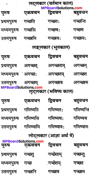 MP Board Class 10th Sanskrit व्याकरण धातु रूप-प्रकरण img 3