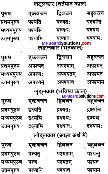MP Board Class 10th Sanskrit व्याकरण धातु रूप-प्रकरण img 5