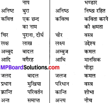 MP Board Class 8th Special Hindi व्याकरण 14