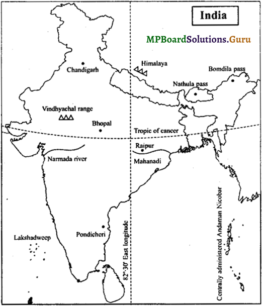 MP Board Class 9th Social Science Important Questions Chapter 8 Map Reading and Numbering 7