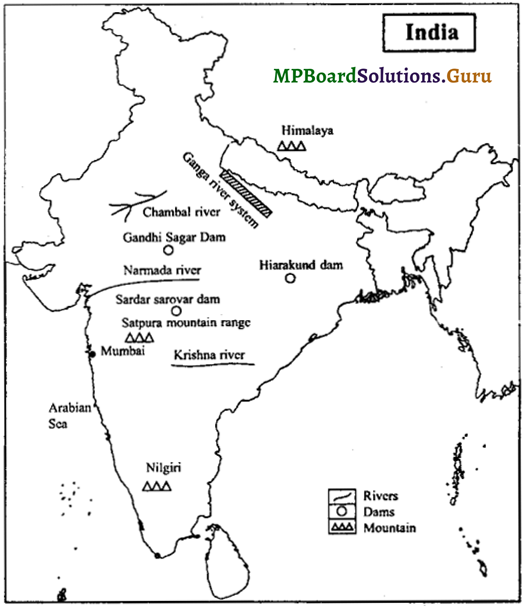 MP Board Class 9th Social Science Important Questions Chapter 8 Map Reading and Numbering 8