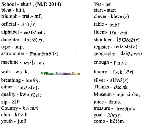 MP Board Class 12th Special English Grammar and Phonology Important Questions img 2