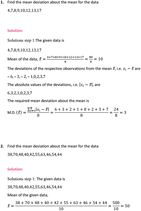 MP Board Class 11th Maths Solutions Chapter 15 Statistics Ex 15.1 1