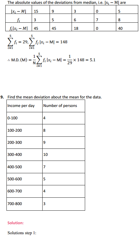 MP Board Class 11th Maths Solutions Chapter 15 Statistics Ex 15.1 10