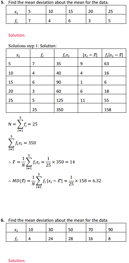 MP Board Class 11th Maths Solutions Chapter 15 Statistics Ex 15.1 5